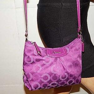 Coach Pleated Purple Signature Cross-body Handbag